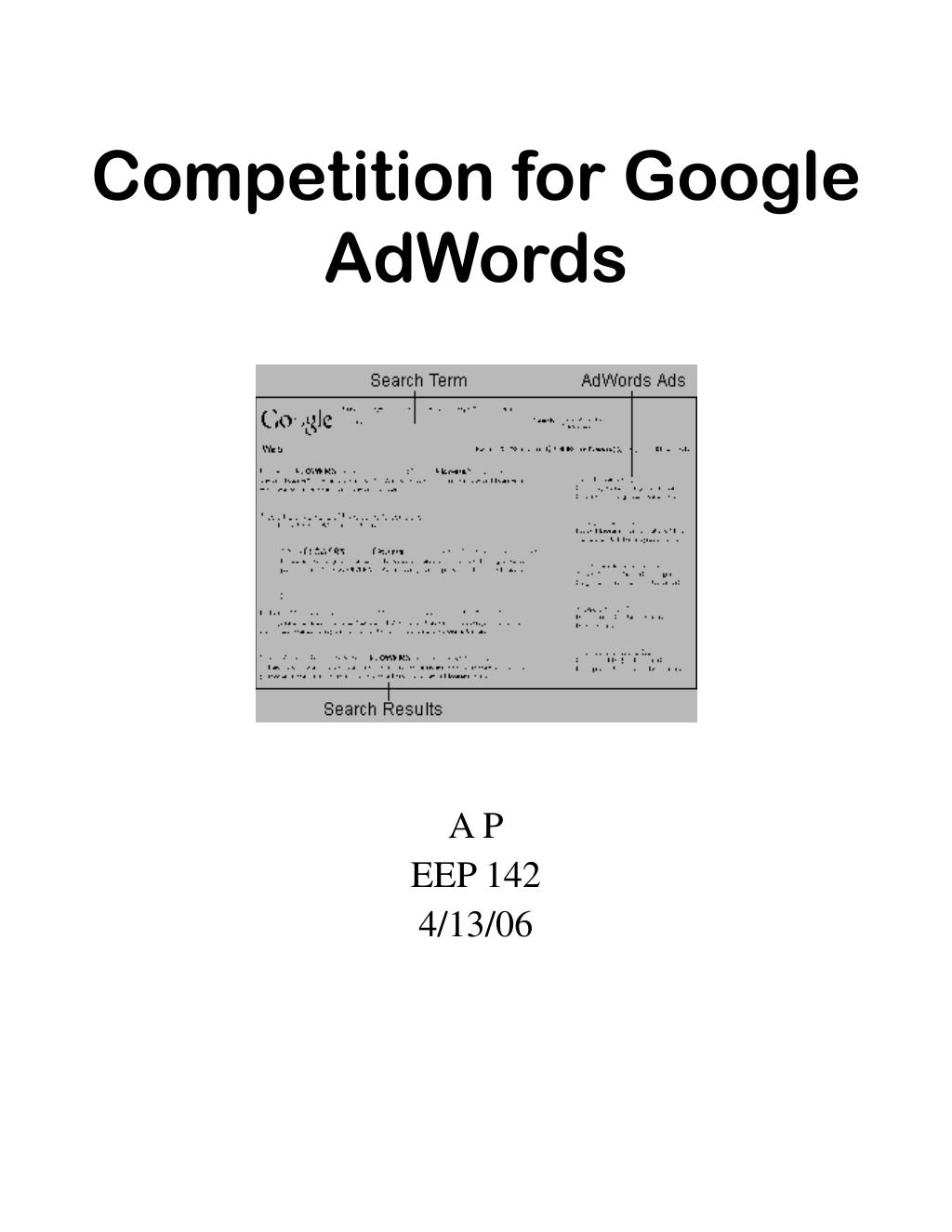 competition for google adwords l.