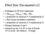 effect size eta squared h 2