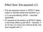effect size eta squared h 21