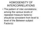homogeneity of intercorrelations