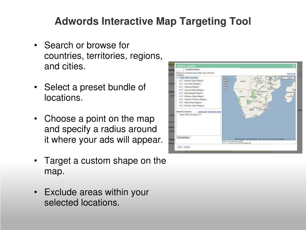 Adwords Interactive Map Targeting Tool