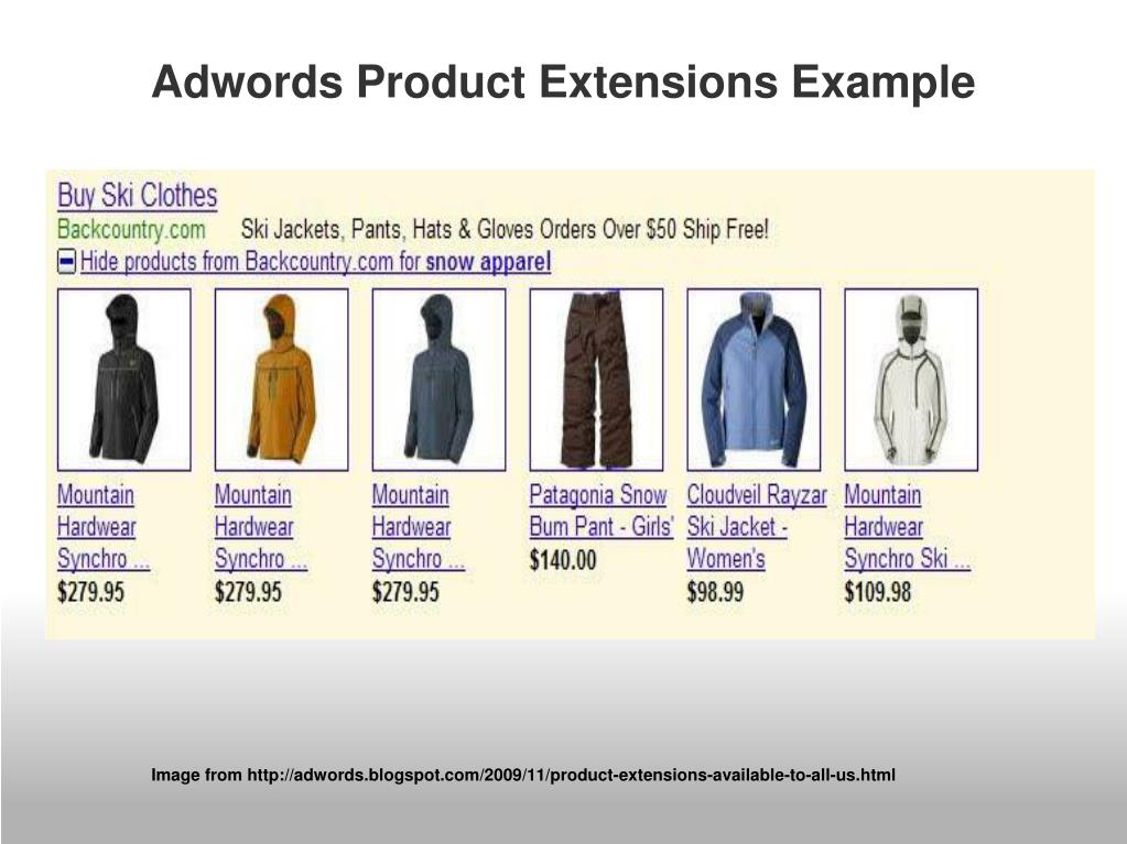 Adwords Product Extensions Example