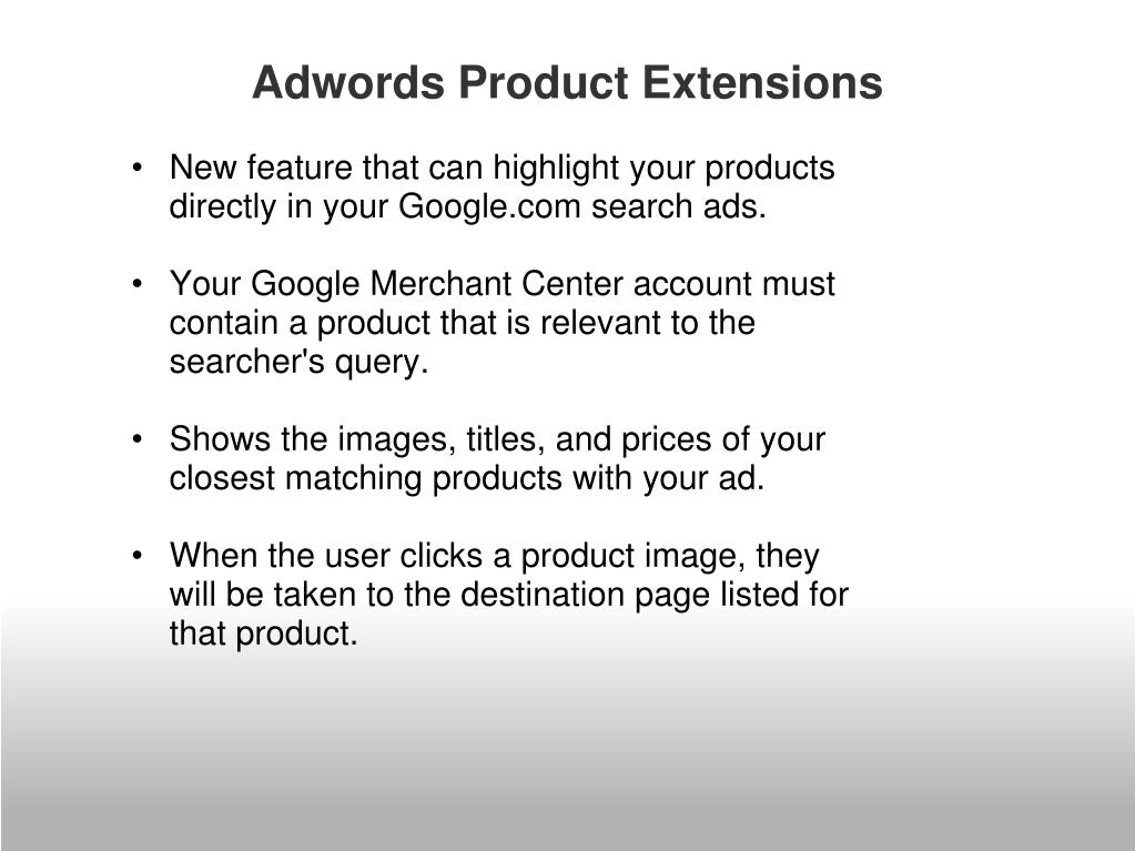 Adwords Product Extensions