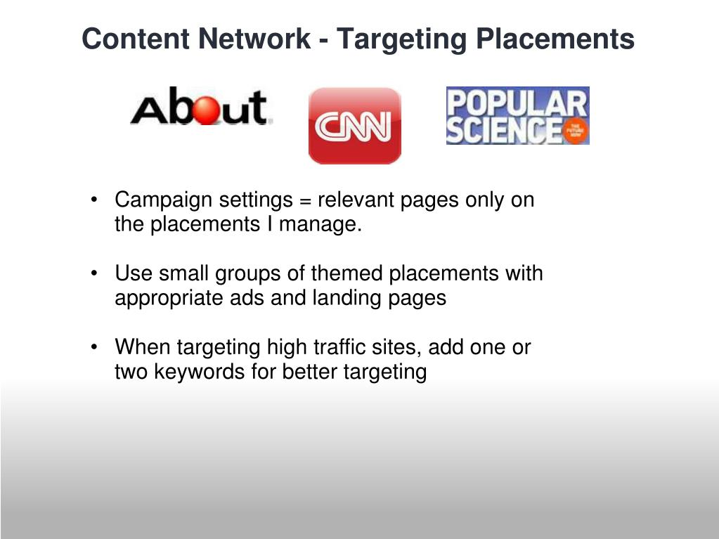 Campaign settings = relevant pages only on the placements I manage.