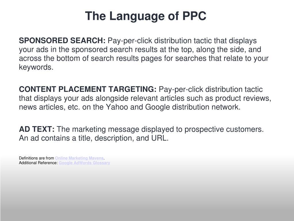 The Language of PPC