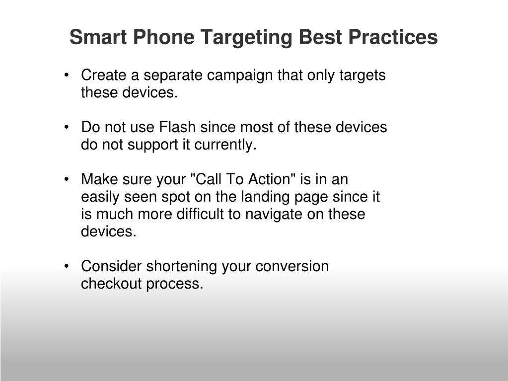 Smart Phone Targeting Best Practices