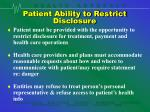 patient ability to restrict disclosure
