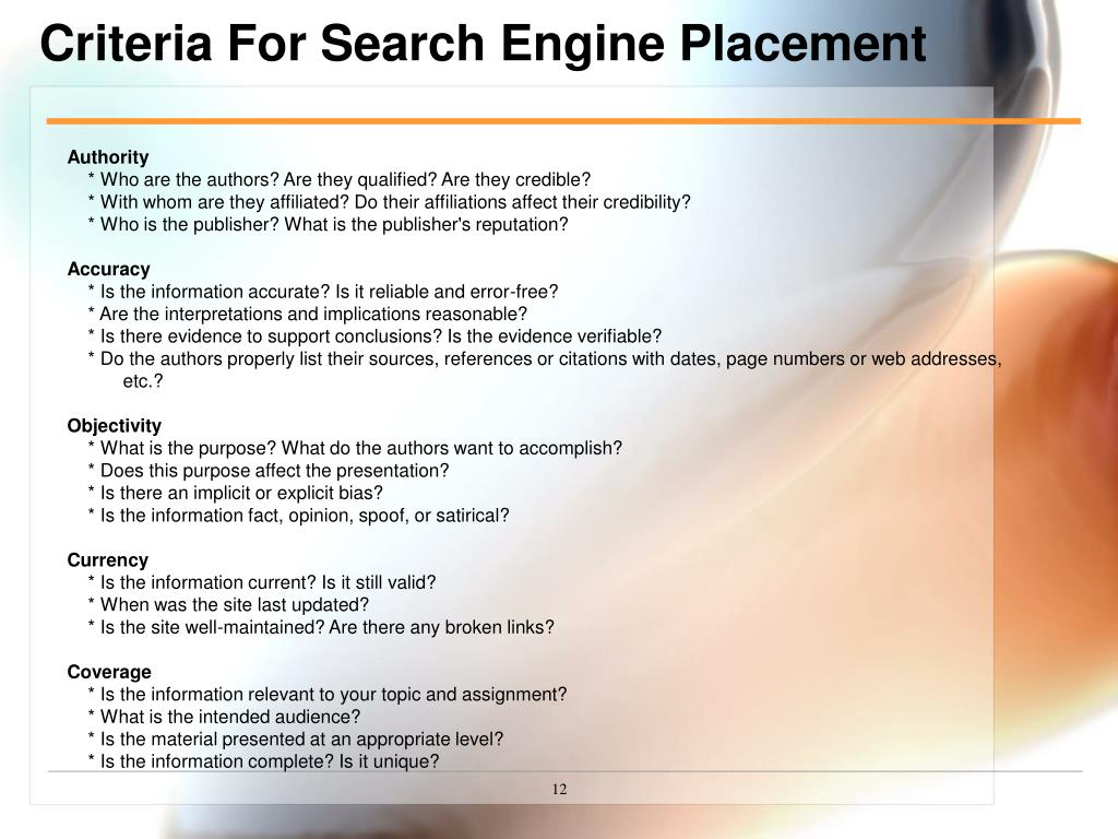 Criteria For Search Engine Placement