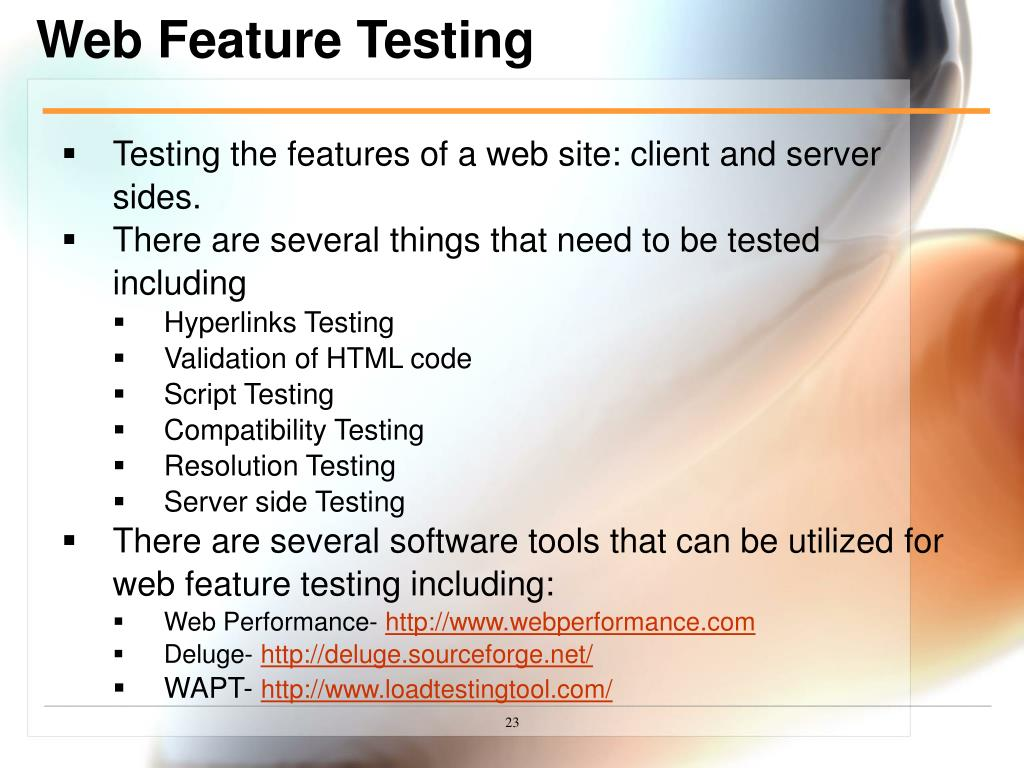 Web Feature Testing