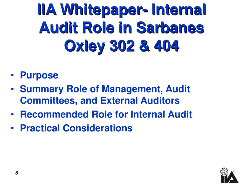 PPT - What is Internal Audit's Role in Management's