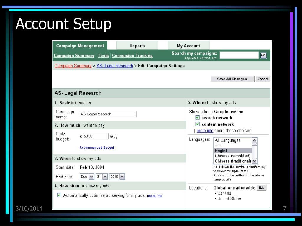 Account Setup