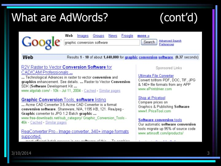 What are adwords cont d