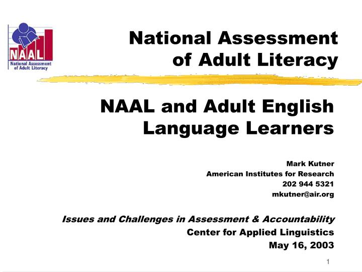 national assessment of adult literacy n.