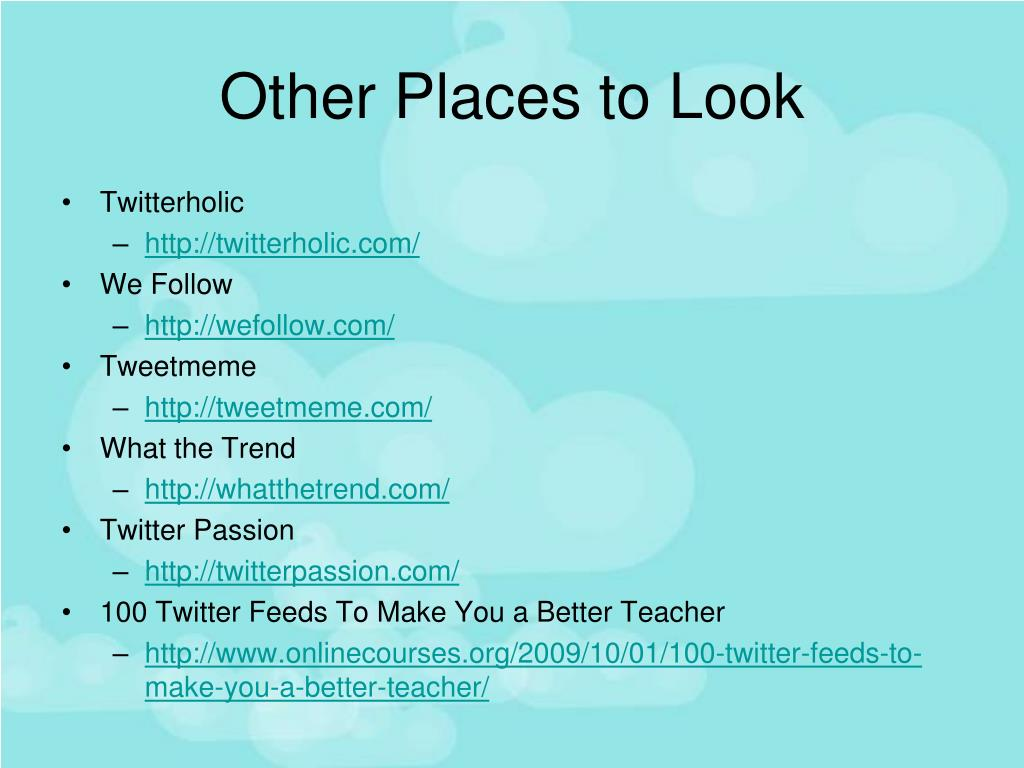Other Places to Look