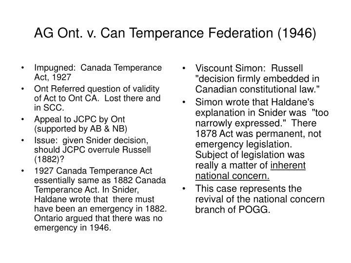Impugned:  Canada Temperance Act, 1927