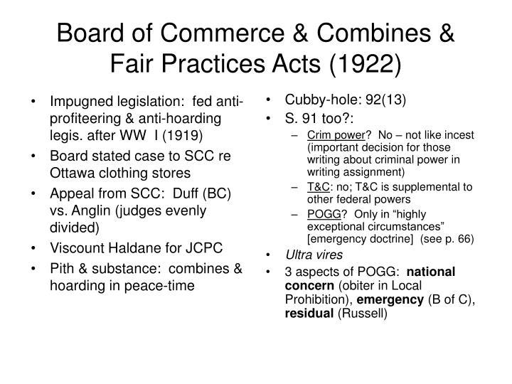 Impugned legislation:  fed anti-profiteering & anti-hoarding legis. after WW  I (1919)