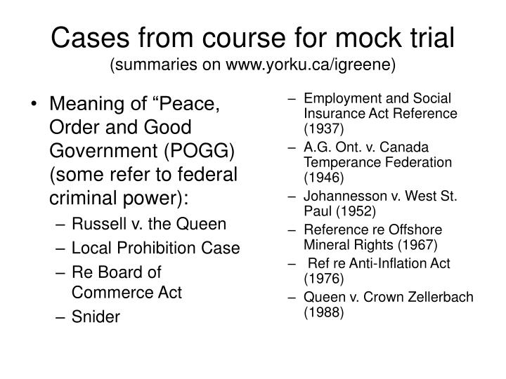 """Meaning of """"Peace, Order and Good Government (POGG) (some refer to federal criminal power):"""