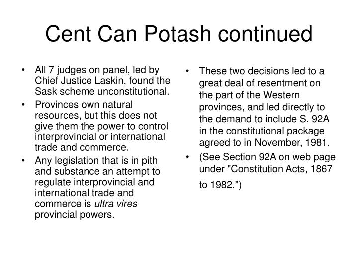All 7 judges on panel, led by Chief Justice Laskin, found the Sask scheme unconstitutional.