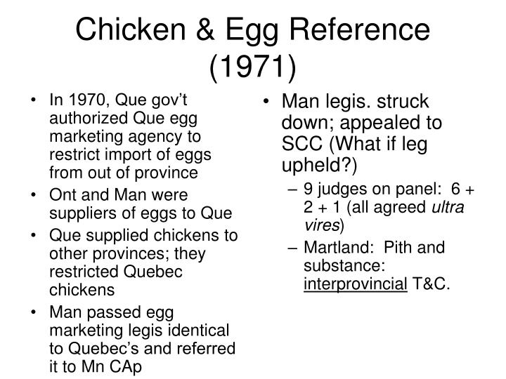 In 1970, Que gov't authorized Que egg marketing agency to restrict import of eggs from out of province