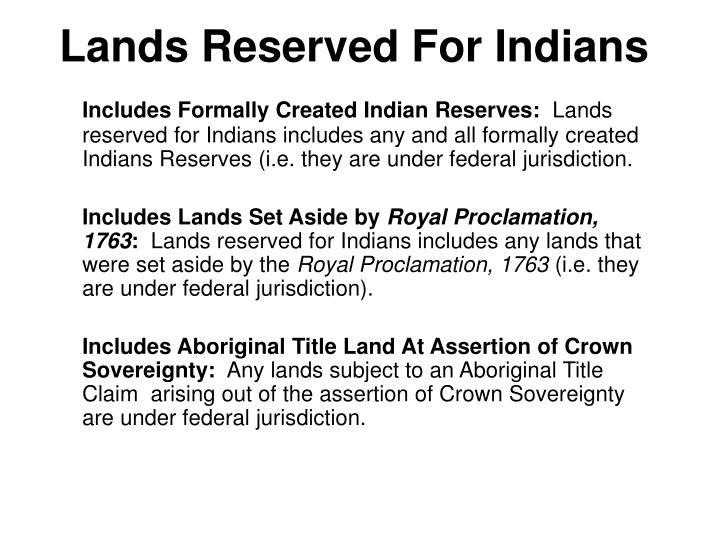 Lands Reserved For Indians