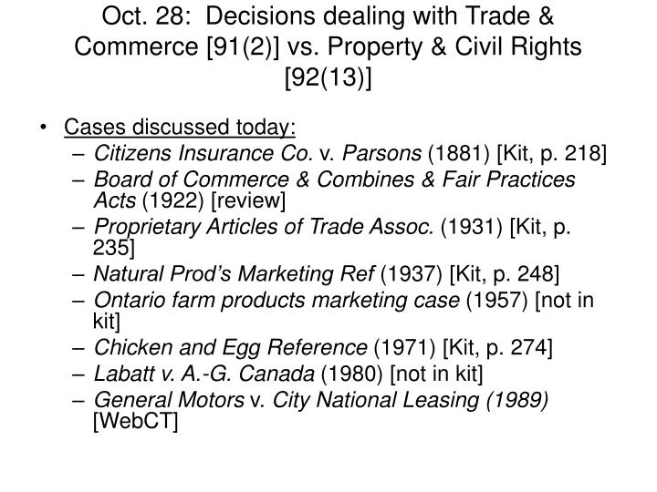 Oct. 28:  Decisions dealing with Trade & Commerce [91(2)] vs. Property & Civil Rights [92(13)]