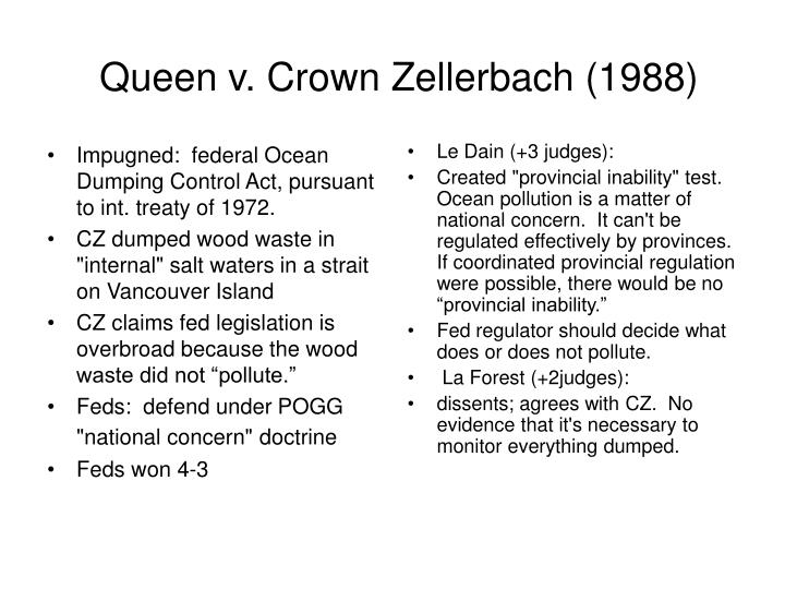 Impugned:  federal Ocean Dumping Control Act, pursuant to int. treaty of 1972.