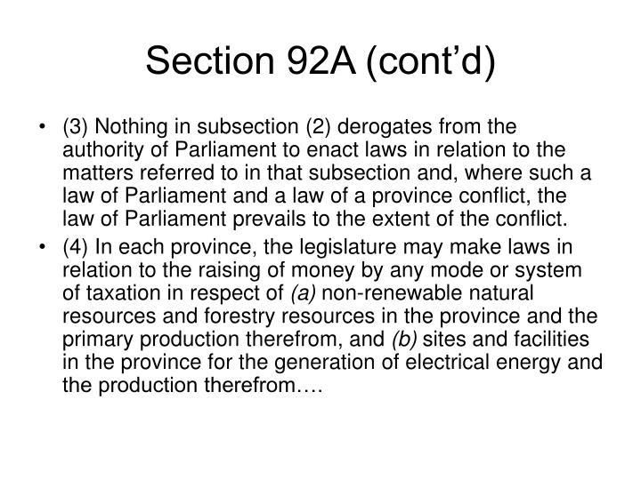 Section 92A (cont'd)