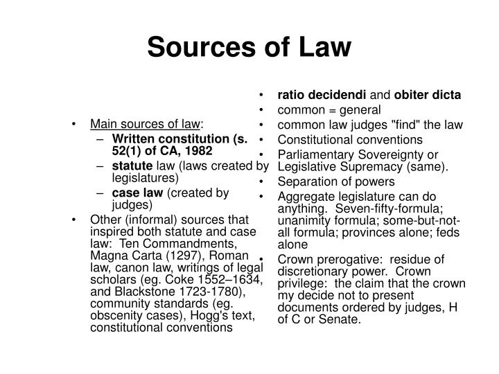 Main sources of law