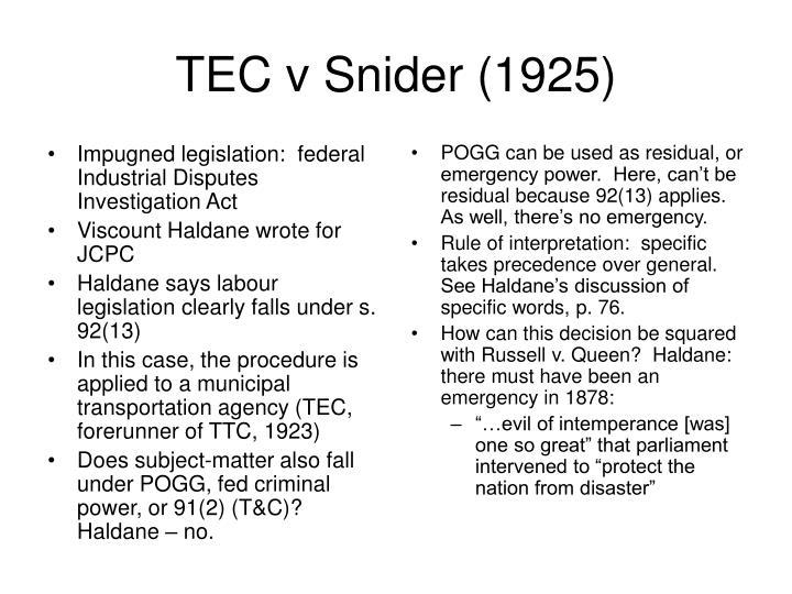 Impugned legislation:  federal Industrial Disputes Investigation Act