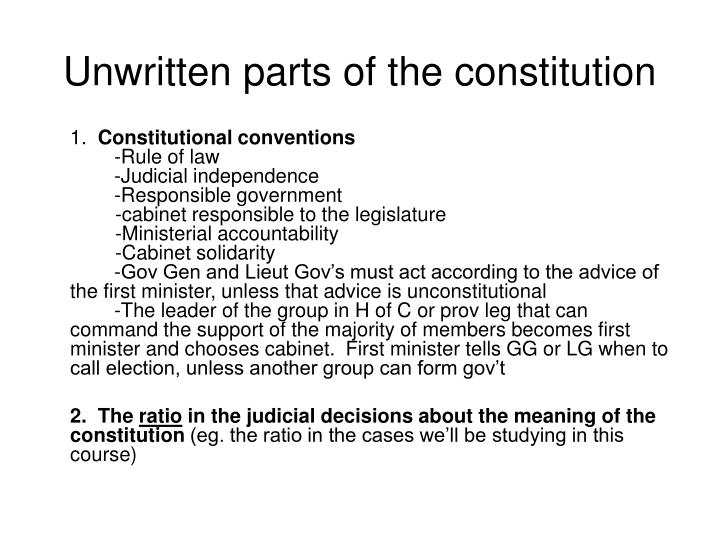 Unwritten parts of the constitution