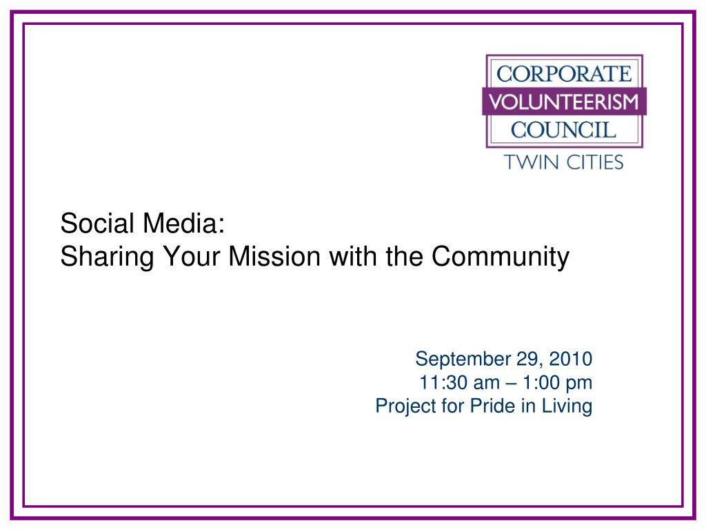 social media sharing your mission with the community l.