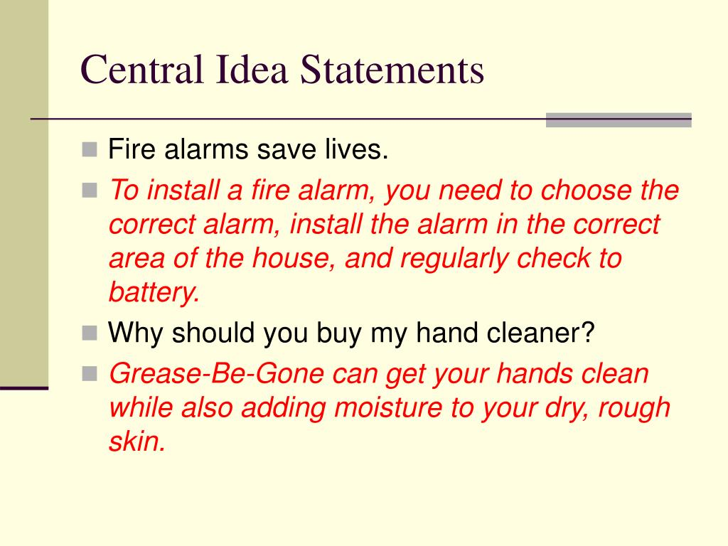 Central Idea Statements
