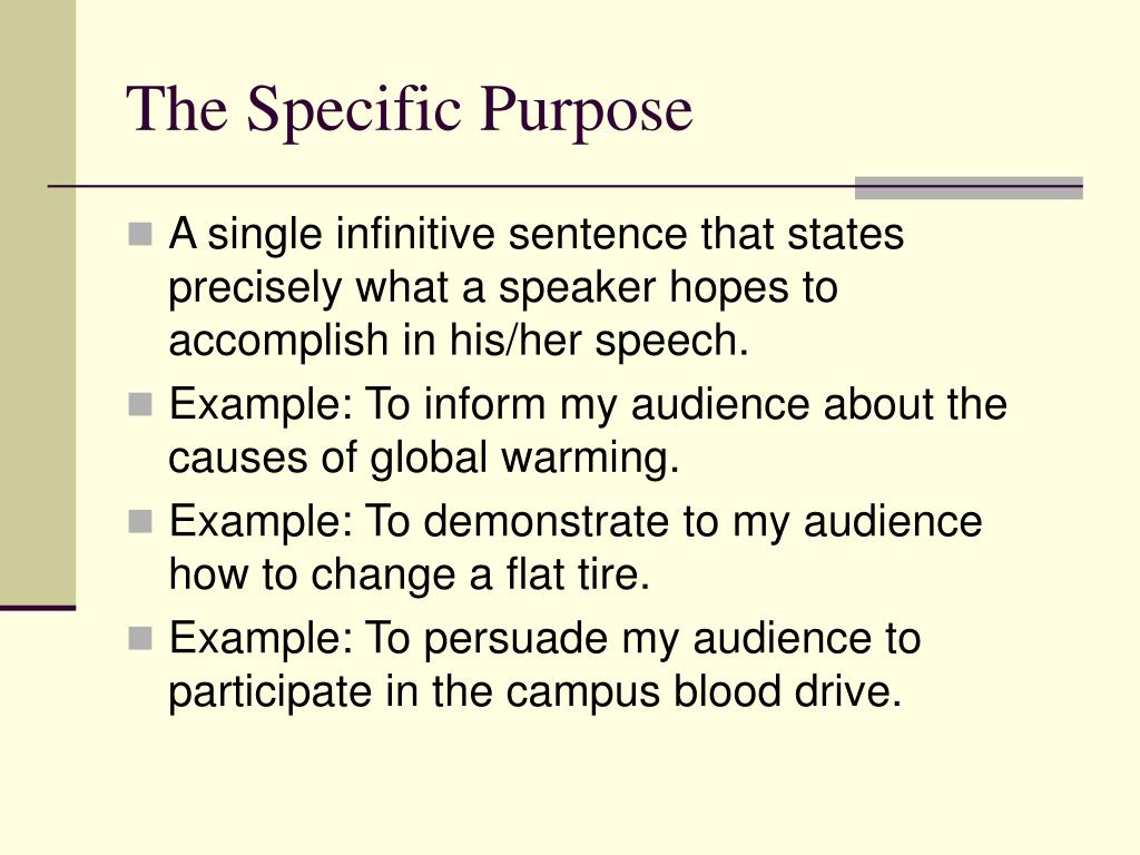 The Specific Purpose