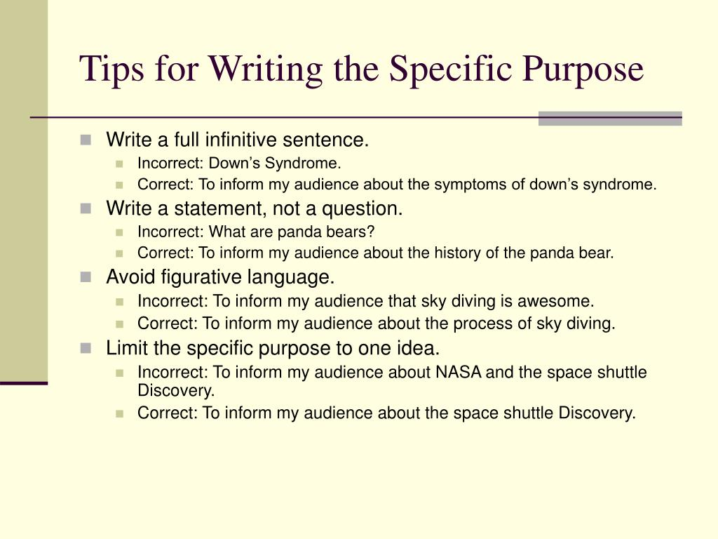 Tips for Writing the Specific Purpose