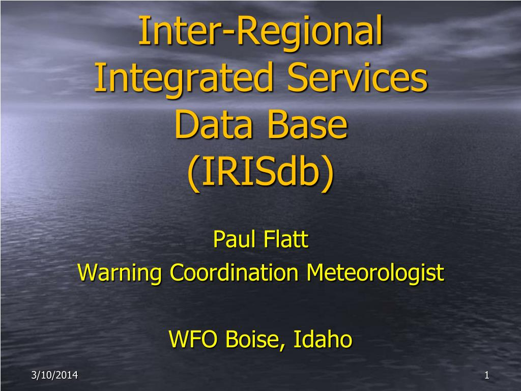 inter regional integrated services data base irisdb l.