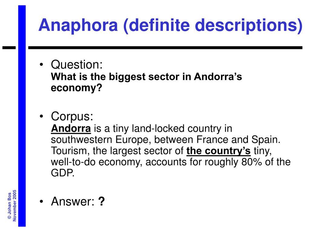 Anaphora (definite descriptions)