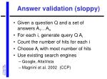 answer validation sloppy
