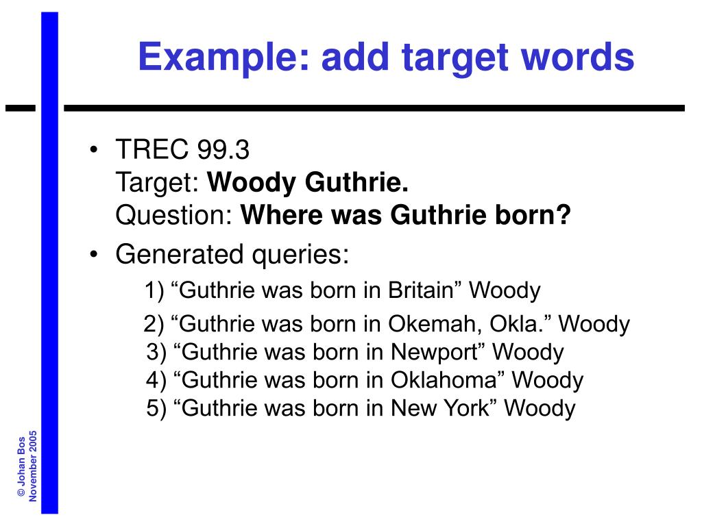 Example: add target words