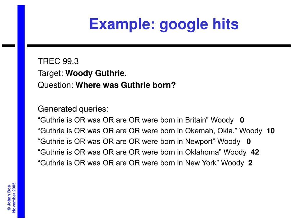 Example: google hits