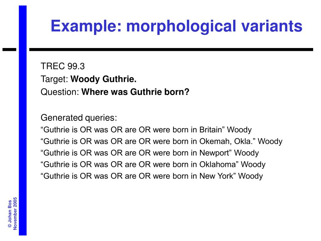 Example: morphological variants