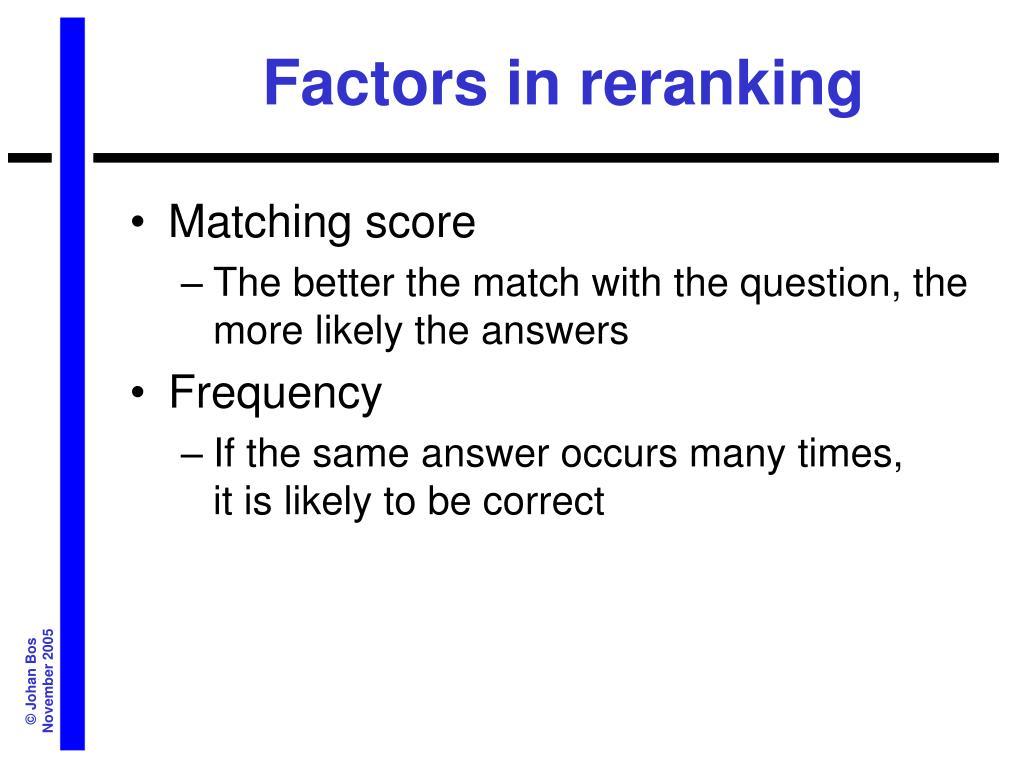 Factors in reranking
