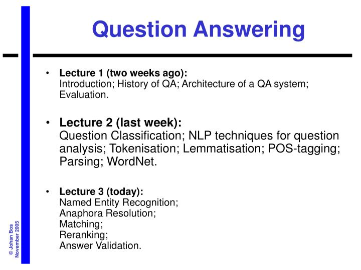 question answering n.