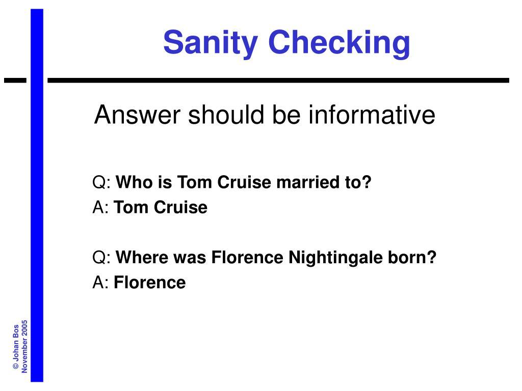 Sanity Checking