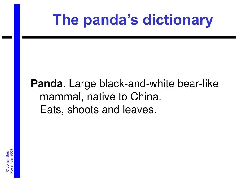 The panda's dictionary