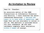 an invitation to review