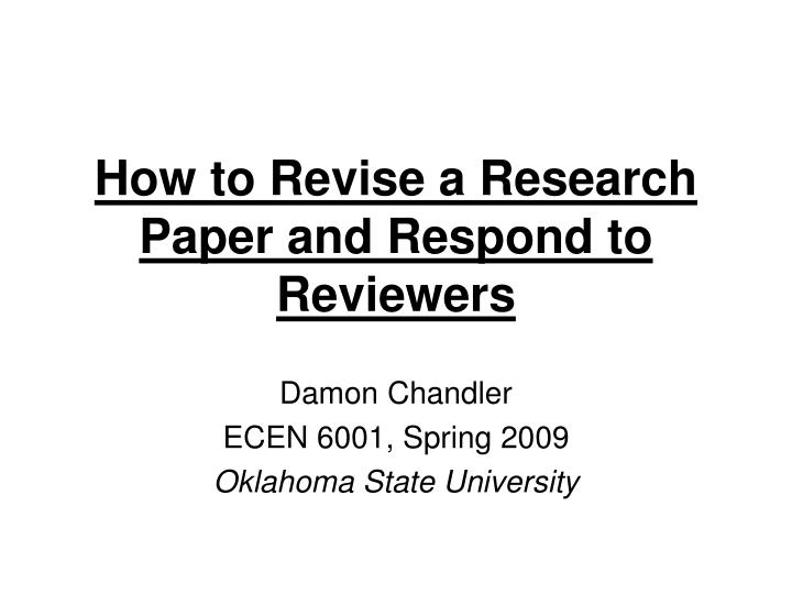 how to revise a research paper and respond to reviewers n.