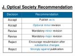 j optical society recommendation