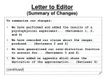 letter to editor summary of changes