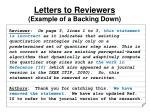 letters to reviewers example of a backing down