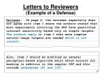 letters to reviewers example of a defense